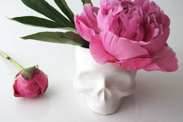 Handmade Skull Shaped Ceramic Planter