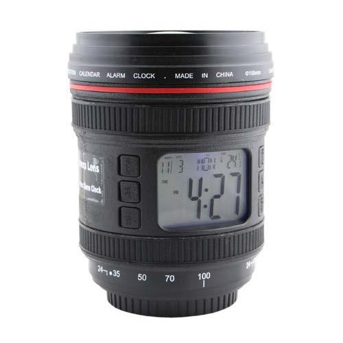 Camera Lens Inspired Calendar Alarm Clock