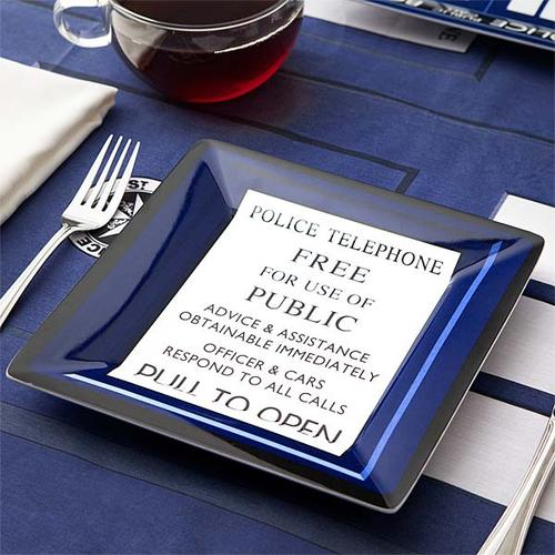 Doctor Who TARDIS Inspired Melamine Square Plate Set