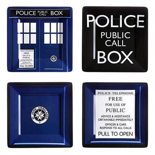 Doctor Who TARDIS Melamine Square Plate Set