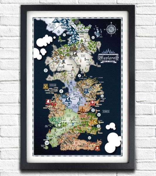 Game of Thrones Westeros and Essos Map Inspired Poasters