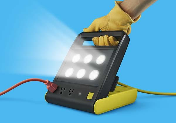 PowerShell Folding LED Work Light with Integrated Power Strip