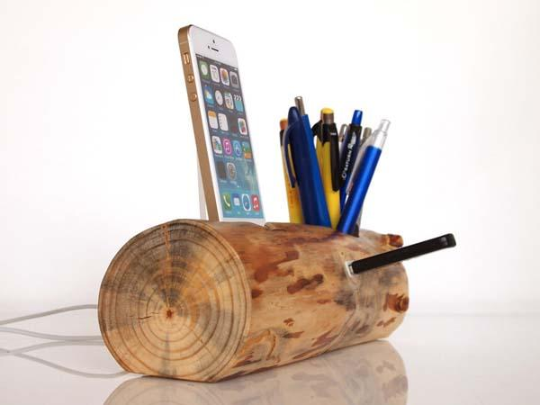 The Handmade iPhone 6 Docking Station with Pen Holder and USB Port