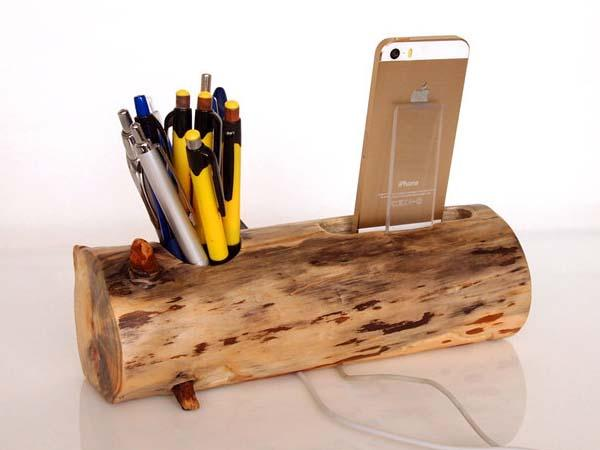 Handmade iPhone Docking Station with Pen Holder and USB Port