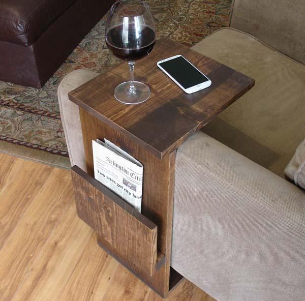 The Handmade Sofa End Table with Side Storage Slot | Gadgetsin