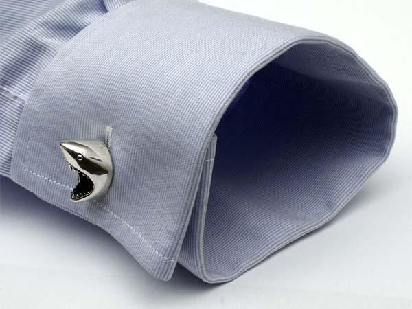 The Handmade White Shark Inspired Sterling Silver Cufflinks
