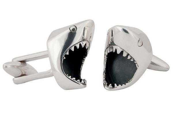 The Handmade White Shark Inspired Sterling Silver Cufflinks