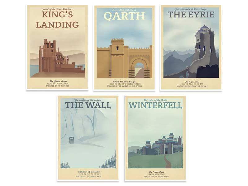 Game of Thrones Retro Travel Poster Set