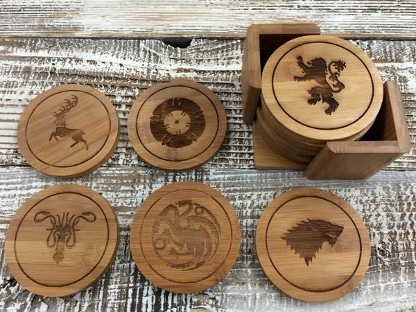 The Handmade Game of Thrones Wood Coaster Set