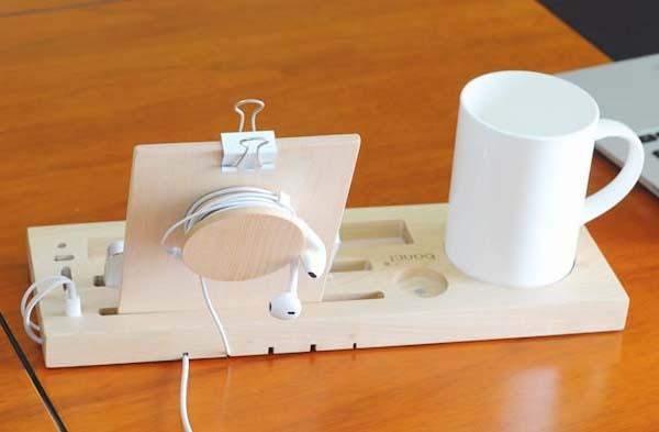 The Handmade Wooden Desk Organizer with Phone Stand and Cup Holder