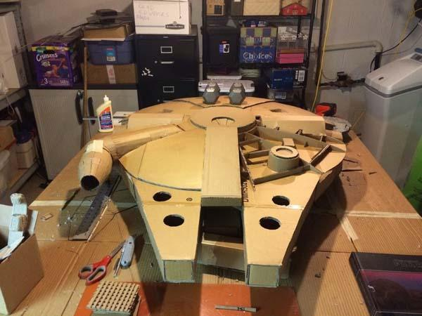 The Highly Detailed Millennium Falcon Made With Cardboard