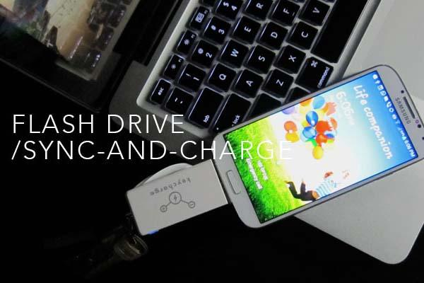 The Keycharge Portable Charger with Built-in USB Flash Drive