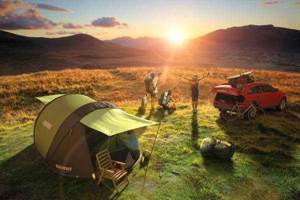 Cinch! Pop-up Tent with Solar Power and LED Lights