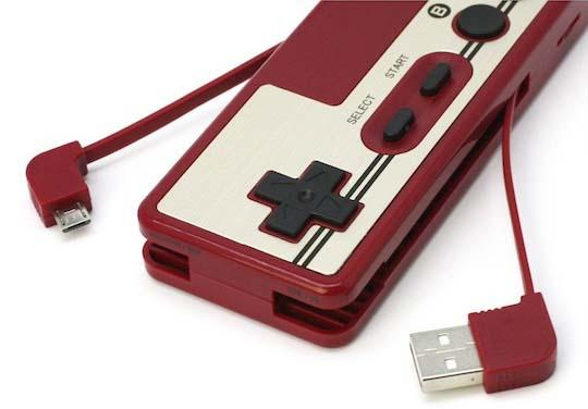 Retro Nintendo Famicom Controller Power Bank with Card Reader
