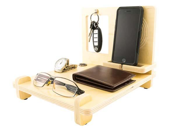 The Handmade Wood Desk Organizer with iPhone 6 Docking Station