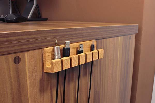 The Handmade Wooden Desk Cable Organizer Gadgetsin