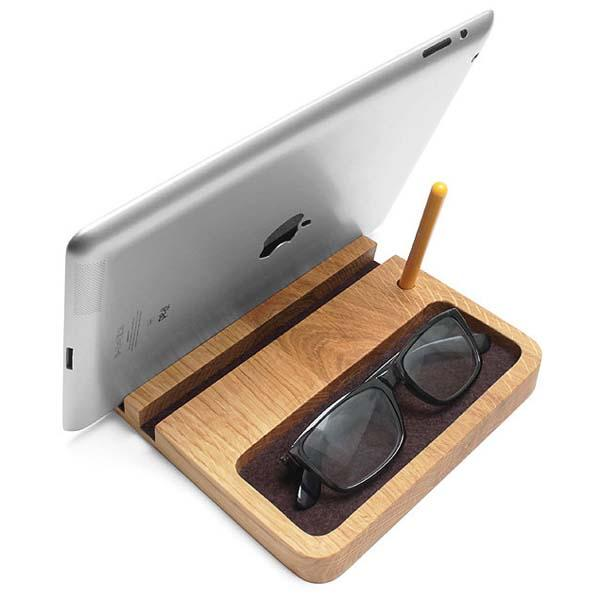 The Handmade Wooden Desk Organizer with Tablet Stand