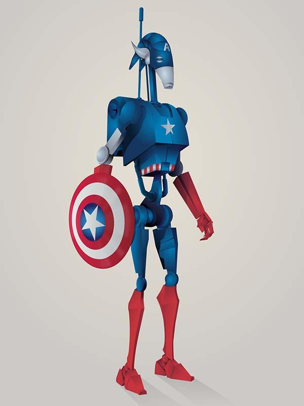 When Superheroes Meet Star Wars Droids