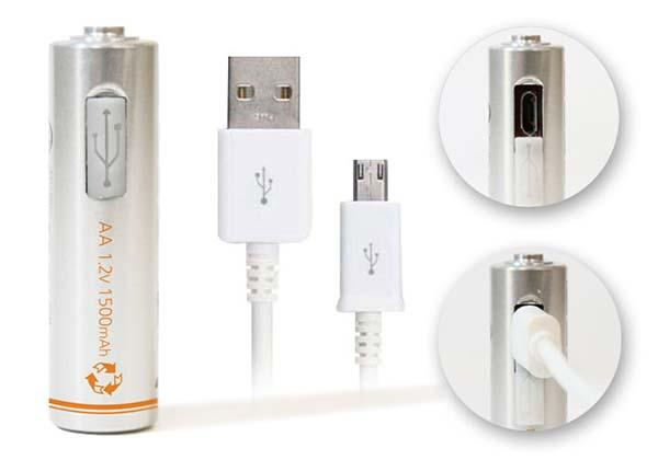Lightors AA and AAA Batteries with MicroUSB Ports