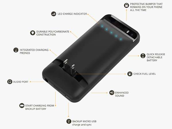 Prong PWR iPhone 6 Battery Case with Built-in Plugs