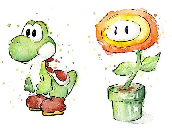 Super Mario Bros Themed Portrait Watercolor Art Prints