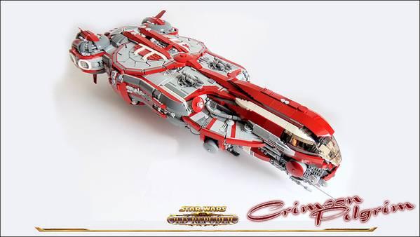 The Awesome Star Wars Old Republic Crimson Pilgrim Built with LEGO Bricks