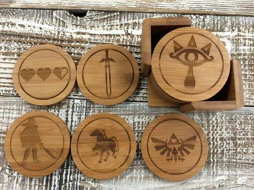 The Handmade Wood Legend of Zelda Coaster Set