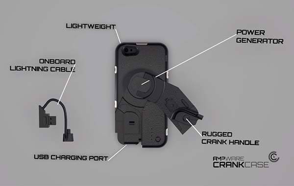 Ampware CrankCase iPhone 6 Case with Integrated Hand-Crank Charger
