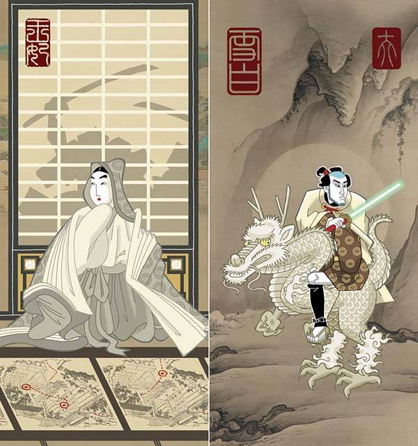 Samurai Wars Art Prints Show Star Wars Characters from Ancient Japan
