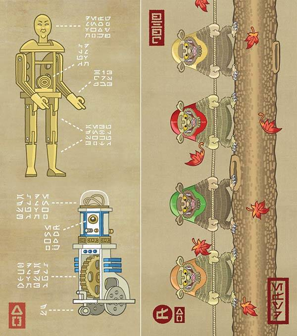 Samurai Wars Art Prints Show Star Wars Characters From