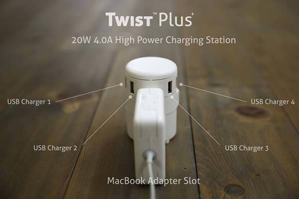 The Twist Plus Universal Travel Adapter Works with Your MacBook