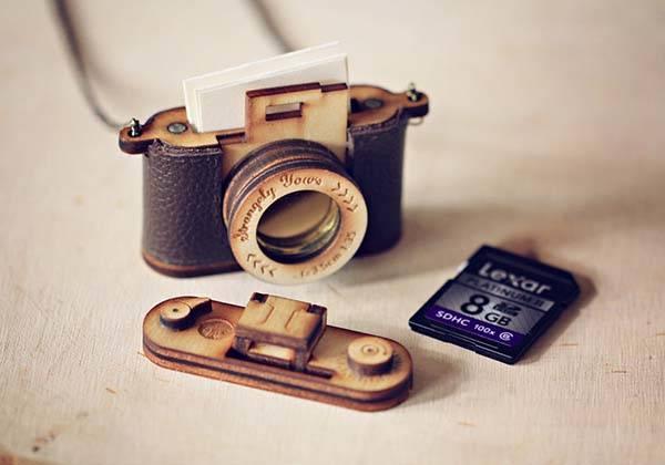 Handmade Wood and Leather Camera Locket