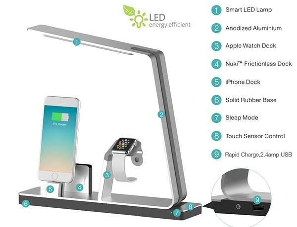 NuDock Smart LED Lamp with Power Bank and Charging Station for Apple Watch and iPhone