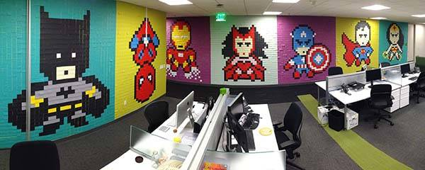 The Pixelated Superhero Murals Built with Over 8,000 Post-It Notes