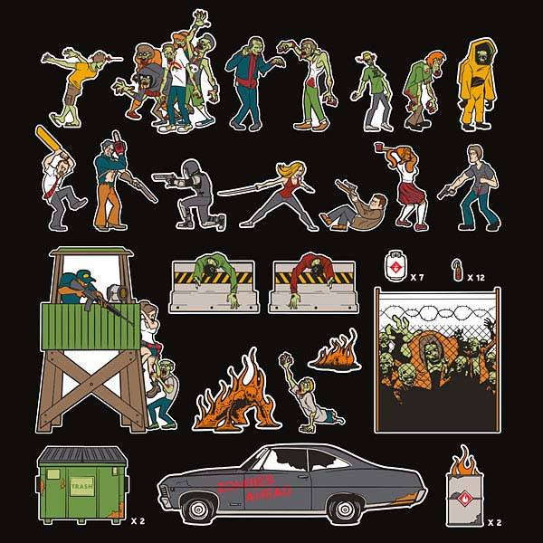 Zombie Apocalypse Fridge Magnet Set