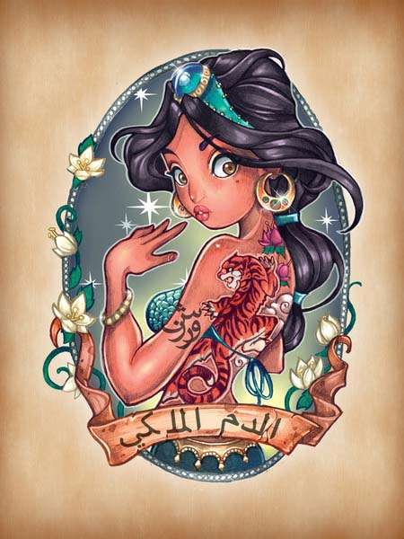 The Art Prints Show You Charming Disney Princesses with Tattoos
