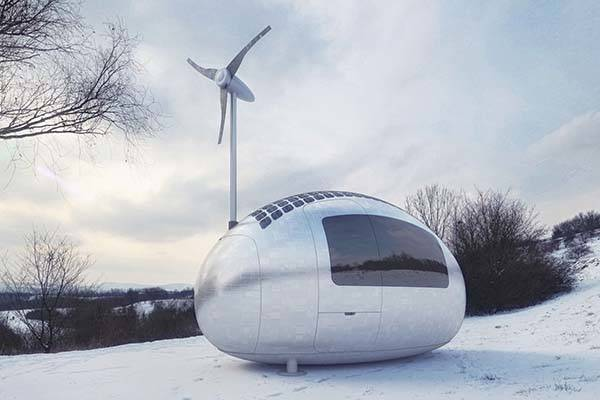 Ecocapsule Portable House Powered by Solar and Wind