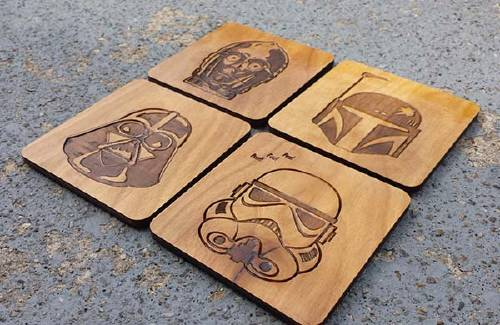 Handmade Star Wars Wooden Coaster Set