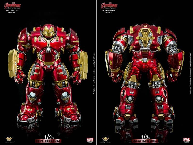 the hulkbuster diecast figure can hold a 1  9 scale iron man action figure