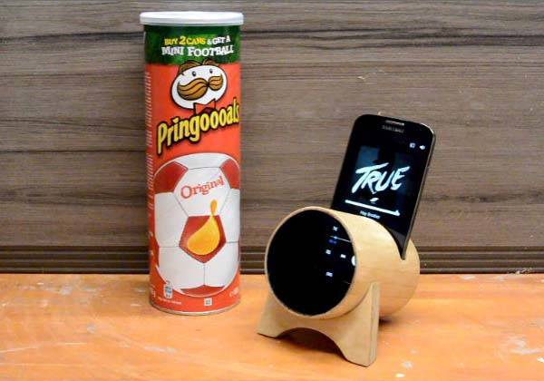 Making Phone Stand with Audio Amplifier with Pringles Box
