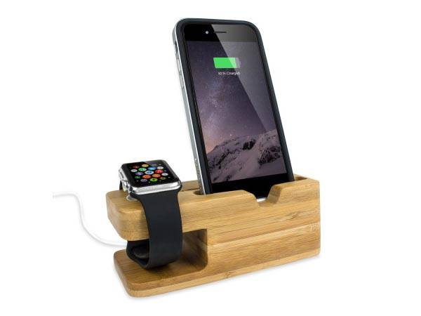 Olixar Bamboo iPhone and Apple Watch Charging Station