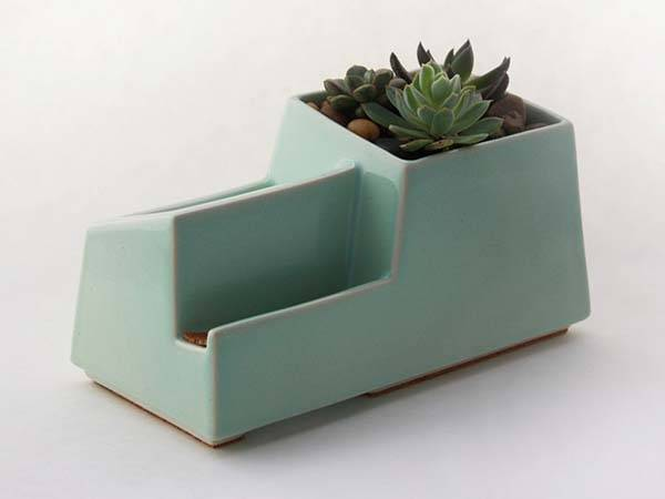 The Handmade stoneware Docking Station with Integrated Flower Pot