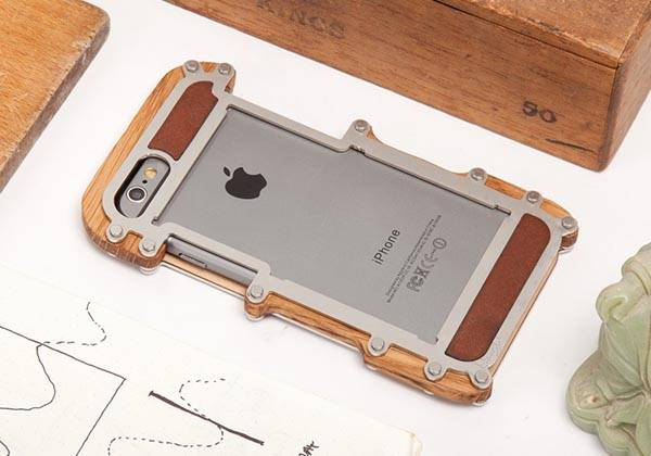 The iPhone 6 and iPhone 6 Plus Cases Handmade in Wood with Steel Frame