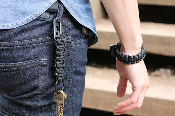 Bomber Firestarter Paracord Bracelet and Keychain with Carabiner