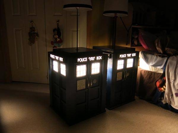 DIY TARDIS Bedside Table with Built-in Lamp
