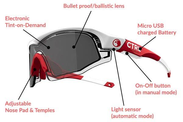 CTRL ONE sunglasses change the tint of its lenses automatically