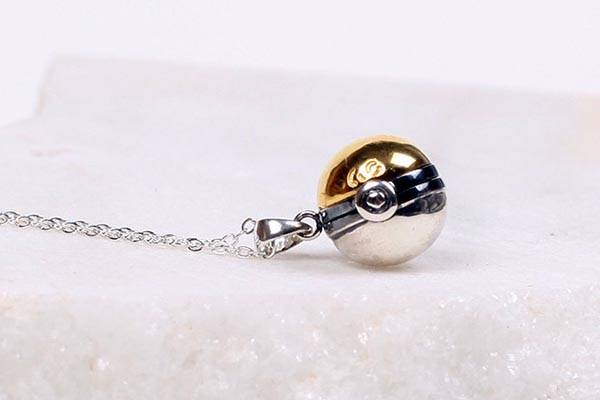 Handmade Pokemon Pokeball GS Ball Silver Necklace