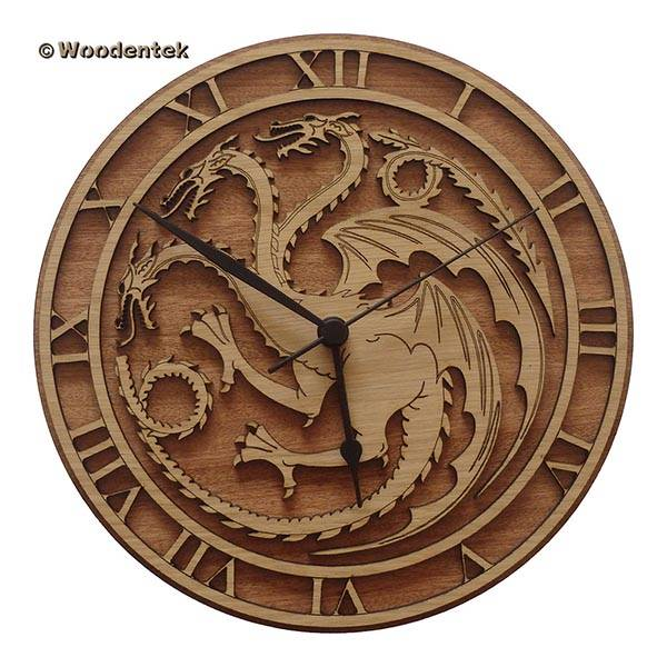 Handmade Game of Thrones Wood Wall Clock, one of our handmade tech gifts