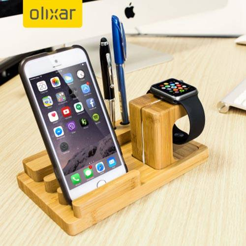Olixar Wooden Apple Watch And iPhone Charging Station With Pen Holder