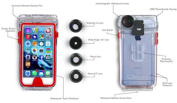 Optrix Waterproof iPhone 6 Case with Lens Kit